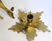 Vintage Ivy Leaf Candle Holder Brass Poinsettia Leaves Flower Home Decor Christmas Holiday Table Scape Holly  Leaf Home Decor