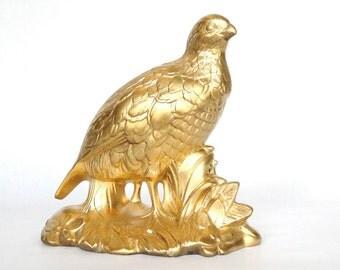 Vintage Gold Porcelain Bird Holland Mold Figurine Hollywood Regency Eclectic Home Decor