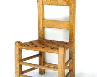 Vintage Chair Primitve Child's Chair Rush Woven Seat Hand Crafted Seating Country Chic Eclectic Furnishings Cottage Antique Home Decor