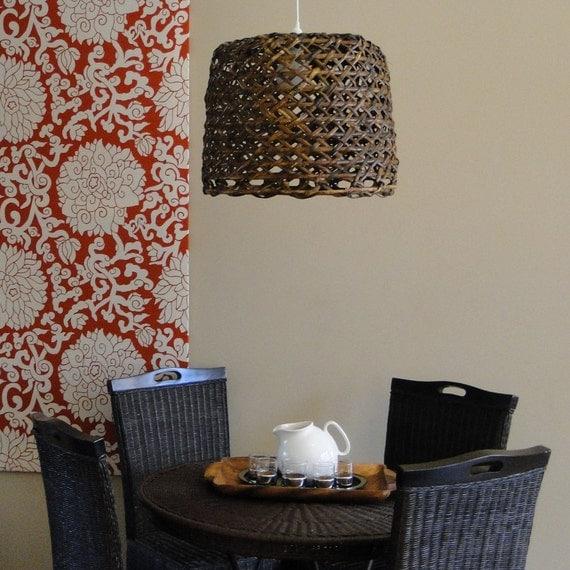 woven reed natural basket pendant lamp rich carmel walnut stained earth friendly green bohemian lighting fixture bohemian lighting