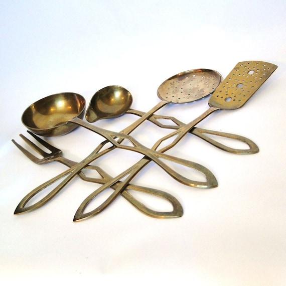 Dream Kitchen Utensils: Vintage Brass Serving Utensils Cooks Dream Collection Aged
