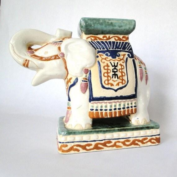 Vintage Ceramic White Elephant Royal Ceremonial Parade