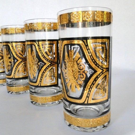 Reserved  Culver LTD 22Karat Tumblers Set Zodiac Aztec Giftware Brooklyn NY Lavish Designs Signed Barware Serving Mad Men Bar Cart