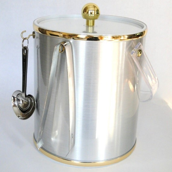 Vintage Ice Bucket Metallic Brushed Platinum Gold Brass Trim Lucite Handle Hollywood Regency Elegant Bar War Eclectic Home Decor