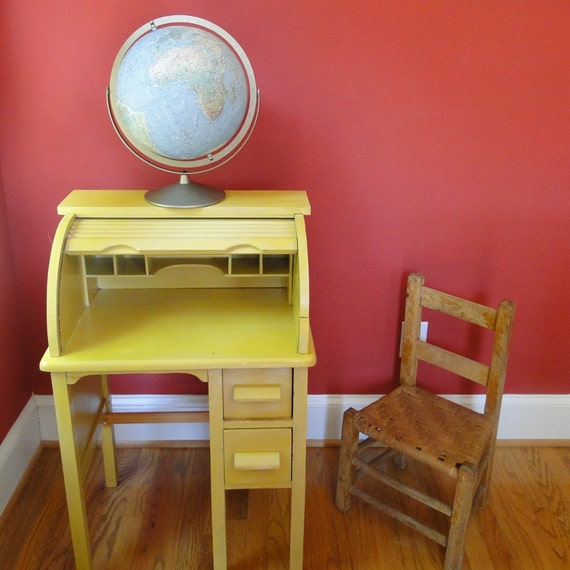 Ikea Coffee Table Cubby Holes: Vintage Desk Roll Top 1940s Petite Wooden Desk Vanity Table