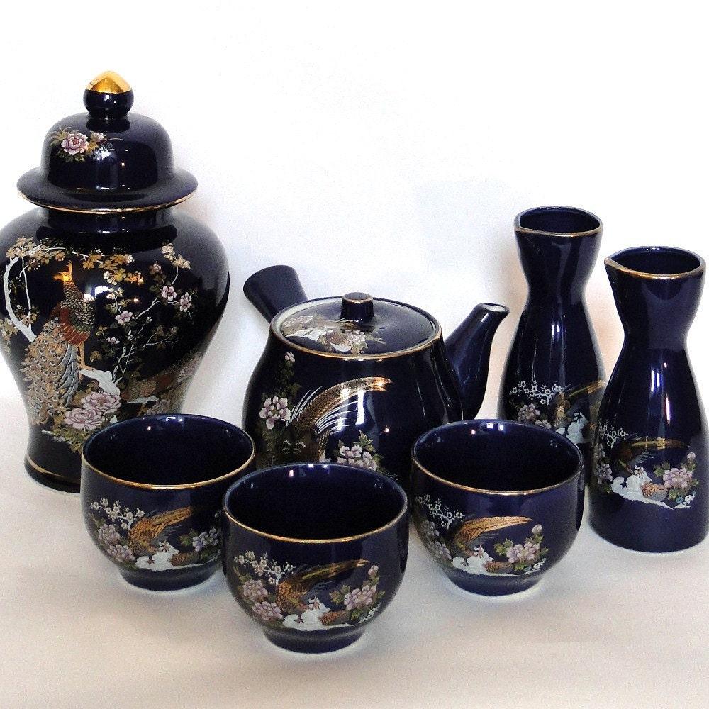 Heisei Vintage Japanese Tea Sake Gingerjar Peacock Cobalt Blue