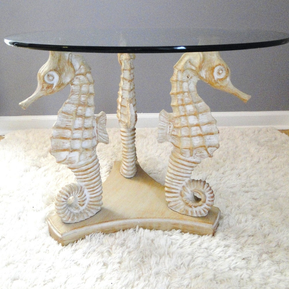 Vintage Table Blonde Seahorses Coffee Table By Belateddesigns