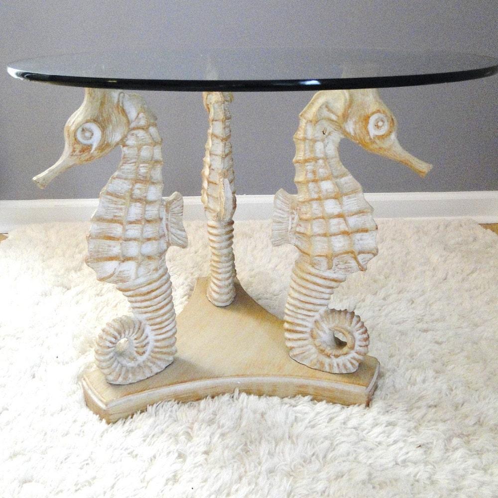 Vintage Table Blonde Seahorses Coffee Table Hollywood Regency