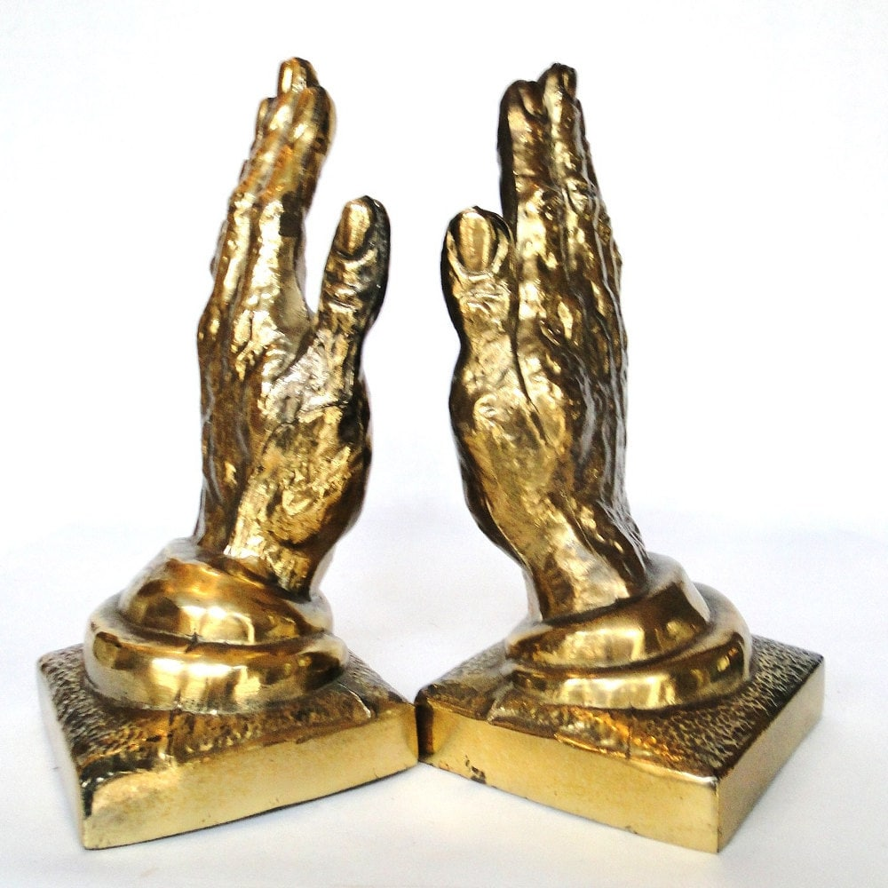 Vintage brass bookends helping hands praying for by belateddesigns - Antique brass bookends ...