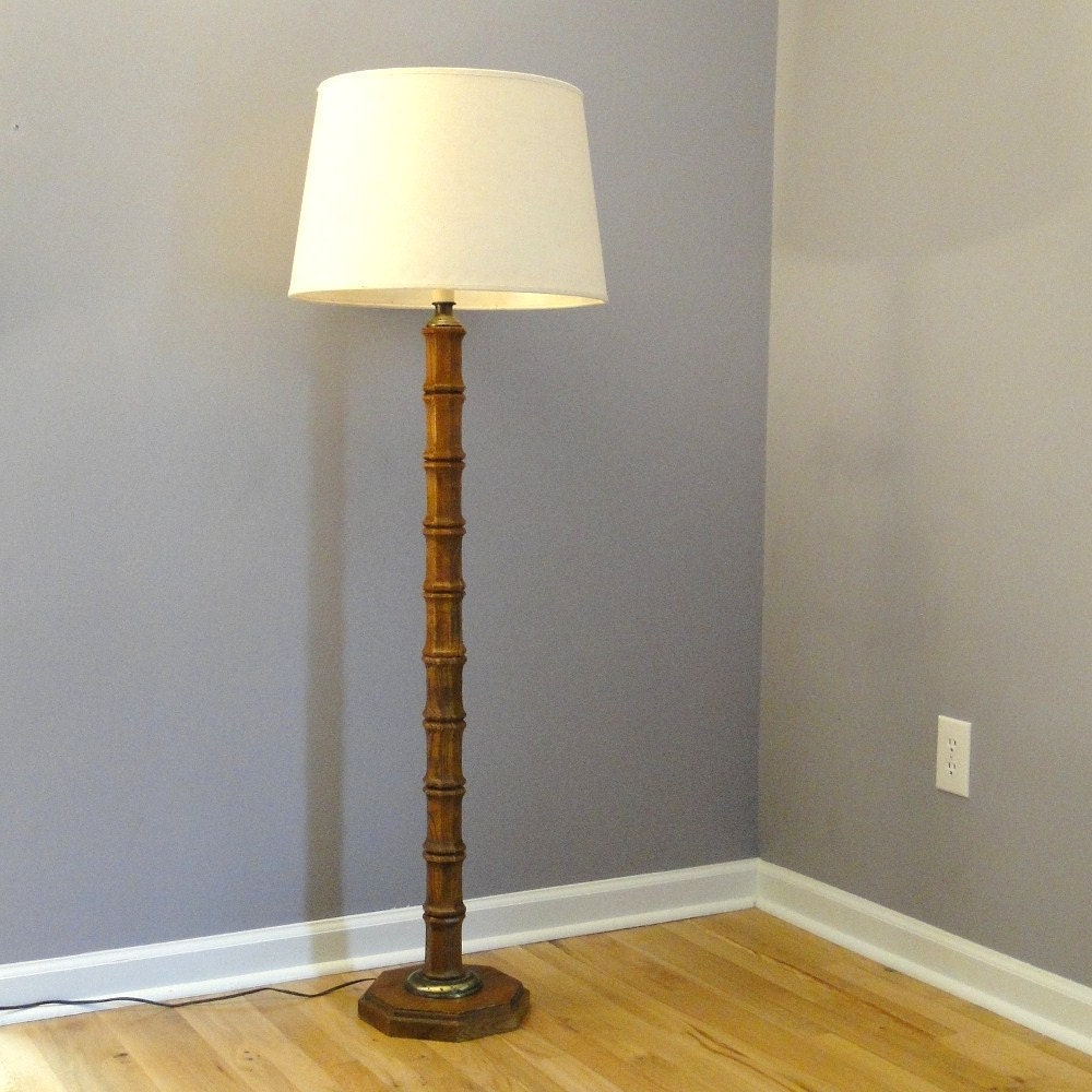 Vintage Floor Lamp Bamboo Inspired Lighting Mid By