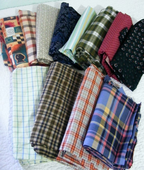Men shirt scrap bundle - scrap quilting