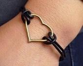 Antique brass Heart  wish bracelet