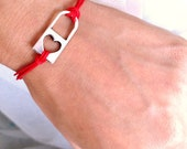 Red rope With silver lock heart charm Wish Bracelet