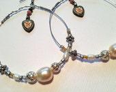 Vintage Silver Enamel Heart hoop earrings wire wrapped vintage pearls and vintage glass beads