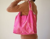 Meduim Katie Tote Bag Purse in Pink Fuchsia with Yellow Leaves