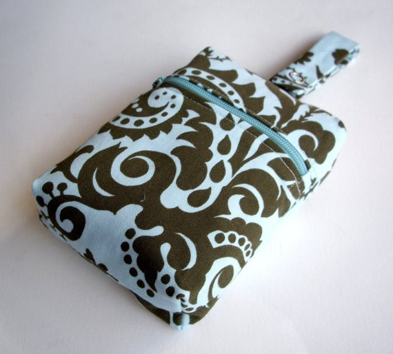 Dog Leash Bag in Blue and Green Damask