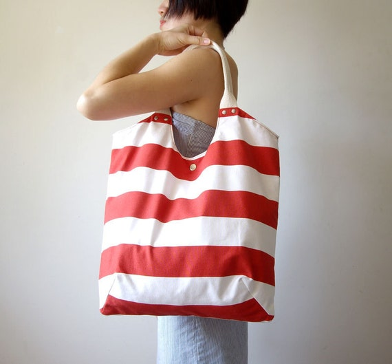 Large Museum Beach Bag Summer Spring Tote in Red and White Stripes