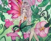 Mandy mandevilla flower Fairy LE ACEo ATC art card Print by Ronne Barton