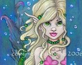 Little Mermaid  LE Aceo ATC art trading card Print fantasy fairy big eyed by Ronne Barton