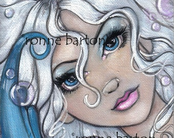 Silver and Sapphire Mermaid LE ACEo ATC art trading card Print Fairy Fantasy big eyed eyed pop art by Ronne Barton