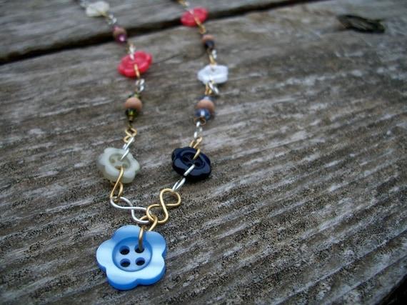 Flower Button Necklace
