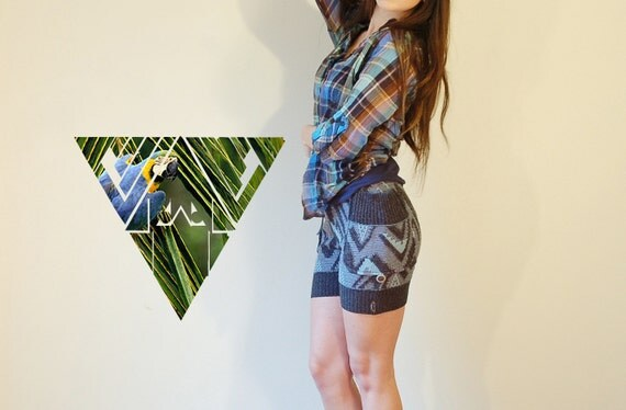 tribal, ikat, 80s retro, navajo print, blue, vintage fit button up or down sweater shorts