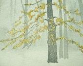 Snowy Yellow Leaves Watercolor Print Notecard Set