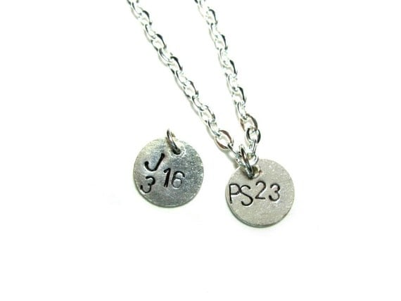 Custom - Pick a Bible verse, word, or quote - silver disc, 10mm diameter, handstamped metal jewelry, necklace (Comes with 17 inch chain)