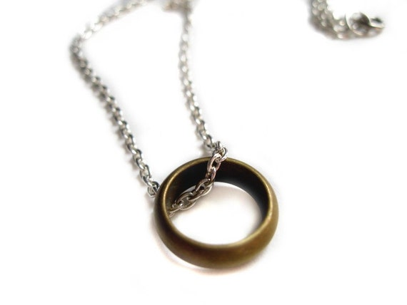 The one ring - OOAK Handmade Lord of the Rings necklace, bronze ring on chain - LOTR, movie inspired, Frodo, gold, Hobbit, my precious