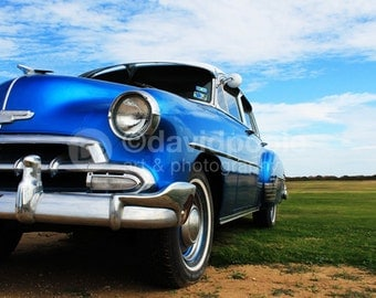 Vintage 1952 Blue Chevy. Photography Print 8x10 Fine Art Texas Landscape