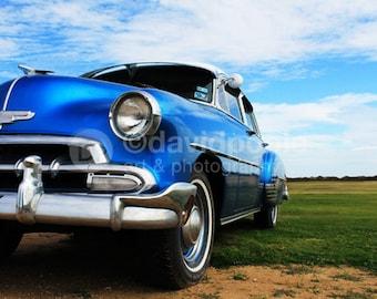 Vintage 1952 Blue Chevy. Photography Print 8x10 Fine Art Texas Landscape