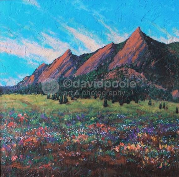 Sunrise on Flatirons Colorado. Photography Print of painting 10x10 Fine Art Southern Colorado Landscape