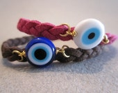 Evil Eye Bracelet Gold Plated lock with Suede Cord