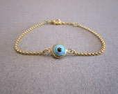 Evil Eye Bracelet Baby Blue Gold Plated Chain