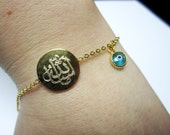 MashaAllah Gold Plated Bracelet with Baby Blue Evil Eye Bracelet