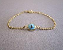 Evil Eye Bracelet Baby Blue Gold Plated Chain