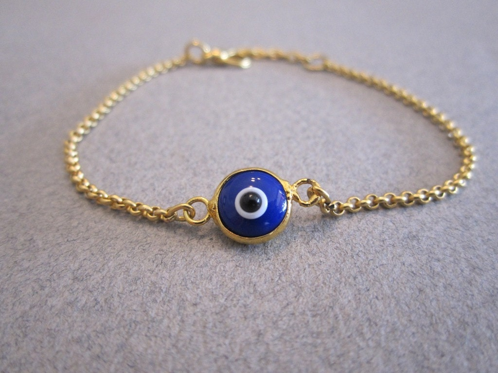 evil eye bracelet blue gold plated chain by