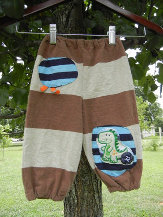 brown striped baby boy patchy bloomers 6-12 months