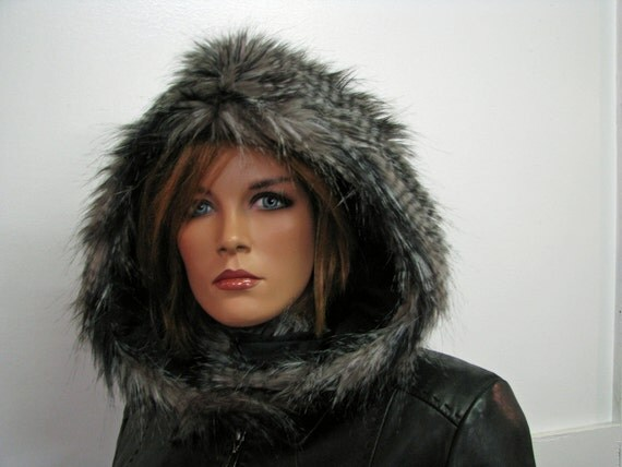 Gray Faux Fur Earless Owl Totem Hood with Sleek Black Fleece Lining