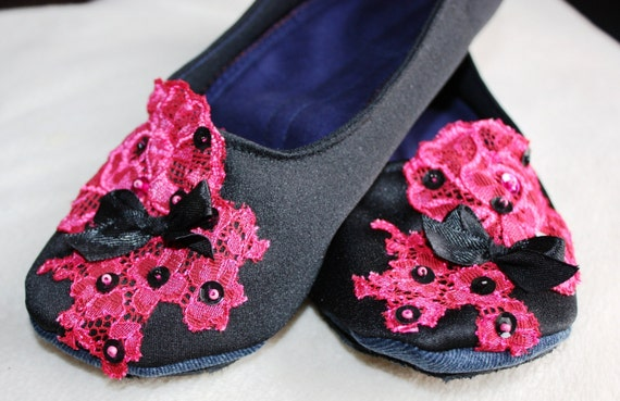 Black Women Shoes with Lace Girl Ballet Flats Slippers Everyday Handmade