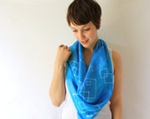 Blue Silk Scarf - Geometric Squares - Hand Painted Silk Scarf - Spring Fashion