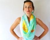 Aqua Silk scarf, Underwater Jellyfish, Hand Painted Silk Scarf, Spring Fashion Accessory
