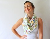 Circle Scarf- Upcycled, Spring Colors, Flowers, Butterflies, Spring Fashion, Infinity Scarf, Loop Scarf,