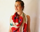 Silk Scarf, Poppies, Hand Painted, Spring Fashion
