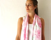 Pink Silk Scarf - Peonies- Pink Flowers - Hand Painted Silk Scarf - Spring Fashion
