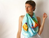 Light Blue Silk Scarf - Hot Air Balloons - Hand Painted Silk Scarf - Spring Fashion -Rainbow Scarf