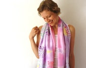 Purple Silk Scarf - Lupines- Pink and Purple Scarf - Hand Painted Silk Scarf - Spring Fashion