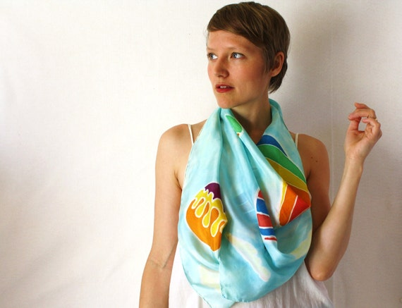 Light Blue Silk Scarf - Hot Air Balloons - Hand Painted Silk Scarf - Spring Fashion -Rainbow Scarf
