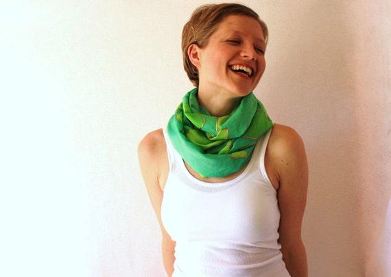 Green Silk Scarf - Silk Circle Scarf - Hand Painted Scarf - Ginko - Spring Fashion - Infinity Scarf - Loop Scarf