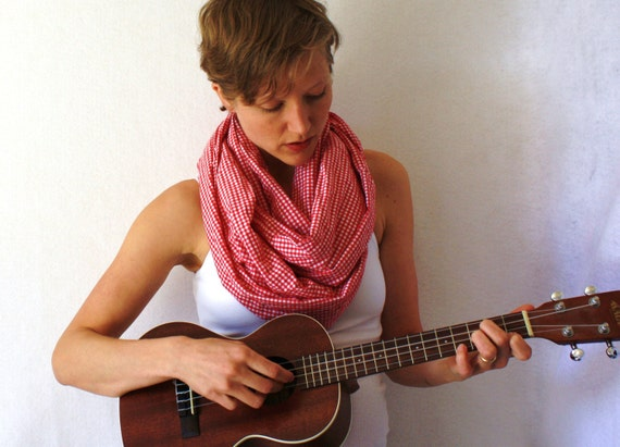 Up-cycled Red Circle Scarf- Red and White Checkers- Spring Fashion - Red Infinity Scarf- Red Loop Scarf,